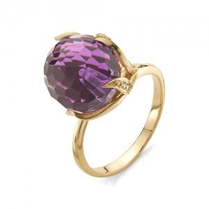 Кольцо из красного золота 585 пробы с аметистом арт. К-1037А