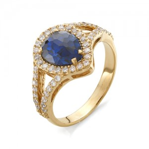 Кольцо из красного золота 585 пробы с лондон топазом арт.К-1040