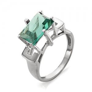 Кольцо из серебра 925 пробы с зеленым кварцем арт. К-0041