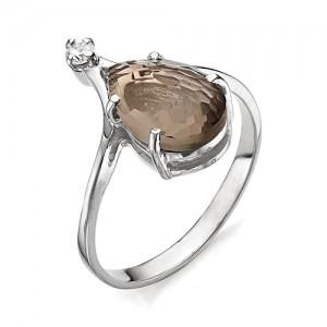 Кольцо из серебра 925 пробы с раухтопазом арт. К-0049