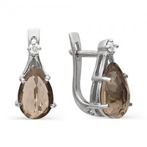 Серьги из серебра 925 пробы с раухтопазом арт. С-0049