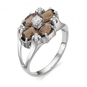 Кольцо из серебра 925 пробы с раухтопазом арт. К-0054