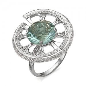 Кольцо из серебра 925 пробы с аквамариновым кварцем арт. К-0057