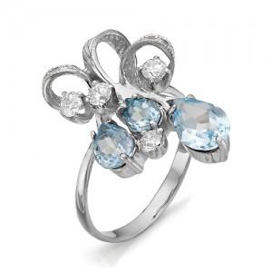 Кольцо из серебра 925 пробы с миксом из полудрагоценных камней арт. К-0061