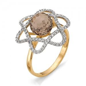 Кольцо из красного золота 585 пробы с  раухтопазом арт.К-1062