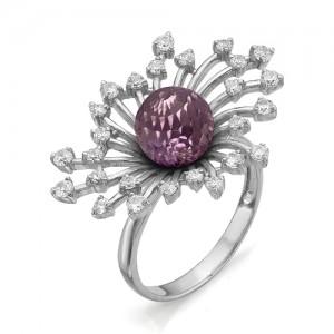 Кольцо из серебра 925 пробы с аметистом арт. К-0062А