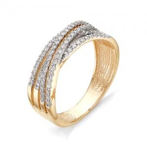 Кольцо из красного золота 585 пробы с фианитами арт.К-1064_2