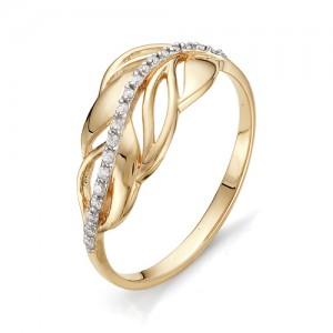 Кольцо из красного золота 585 пробы с фианитами арт.К-1069_2