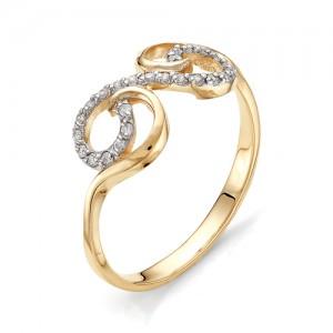 Кольцо из красного золота 585 пробы с фианитами арт.К-1071_2