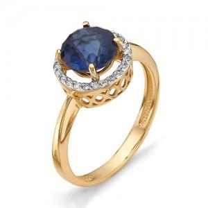 Кольцо из красного золота 585 пробы с лондон топазом арт.К-1081