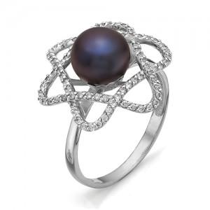Кольцо из серебра 925 пробы с жемчугом арт. К-0083