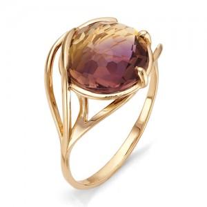 Кольцо из красного золота 585 пробы с аметрином арт.К-1092