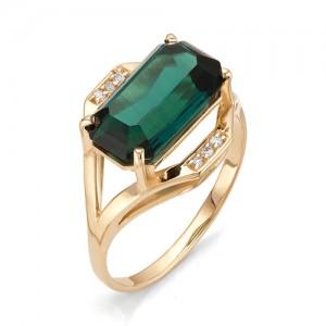 Кольцо из красного золота 585 пробы с зеленым кварцем арт.К-1093