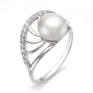 Кольцо из серебра 925 пробы с жемчугом арт. К-0094
