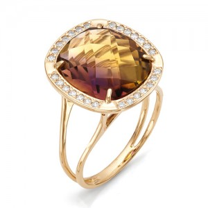 Кольцо из красного золота 585 пробы с аметрином арт.К-1095
