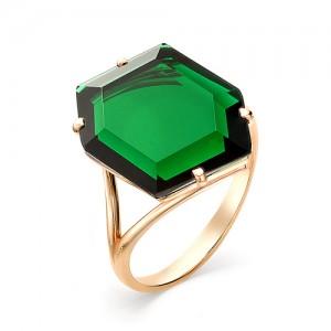 Кольцо из красного золота 585 пробы с зеленым кварцем арт.К-0145