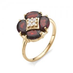 Кольцо из красного золота 585 пробы с гранатами арт.К-1050