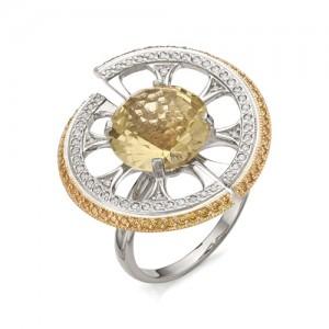 Кольцо из белого золота 585 пробы с цитрином арт.К-1057