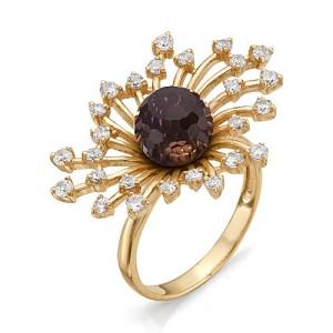 Кольцо из красного золота 585 пробы с  аметрином арт.К-162А