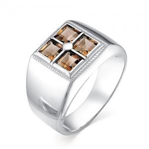 Перстень мужской из серебра 925 пробы с раух-топазами арт. 93-14-038