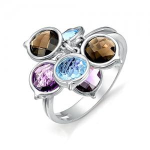 Кольцо из серебра 925 пробы с полудрагоценными камнями арт. 13-22-164