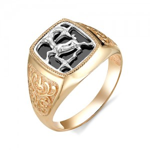 Печатка мужская из золота 585 пробы с фианитами арт. 3102753