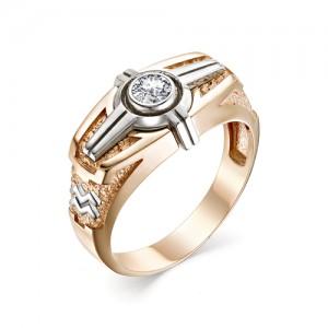 Перстень Водолей из комбинированного золота 585 пробы, арт. 91-02-023_2