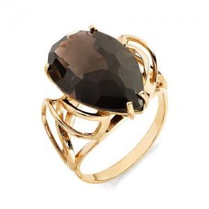 Кольцо из красного золота 585 пробы с раухтопазом арт. К-1004