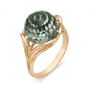 Кольцо из красного золота 585 пробы с зеленым кварцем арт. К-1096А