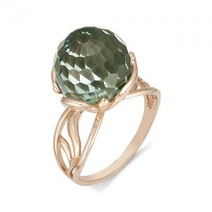 Кольцо из красного золота 585 пробы с зеленым кварцем арт. К-1101А
